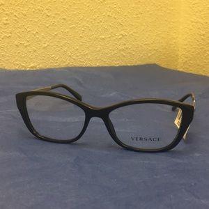 Versace Black Plastic Cat-Eye Eyeglasses